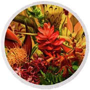 Tropical Flowers Round Beach Towel