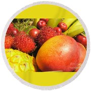 Tropical Fruit Delight Round Beach Towel