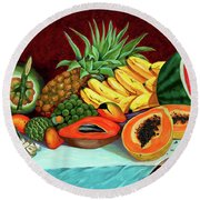 Tropical  Fruits Round Beach Towel