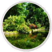 Tropical Garden By Lake Round Beach Towel