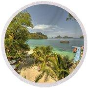 Tropical Harbour Round Beach Towel