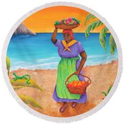 Tropical Harvest Round Beach Towel