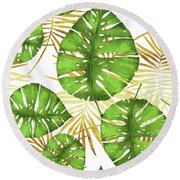 Tropical Haze Green Monstera Leaves And Golden Palm Fronds Round Beach Towel