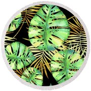 Tropical Haze Noir Variegated Monstera Leaves, Golden Palm Fronds On Black Round Beach Towel