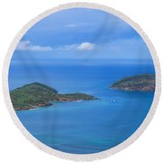 Tropical Islands In The Caribbean Sea Round Beach Towel