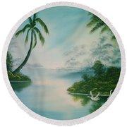 Tropical Lagoon Round Beach Towel