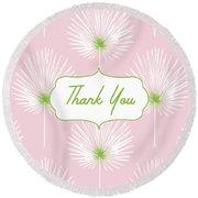 Tropical Leaf Thank You- Art By Linda Woods Round Beach Towel