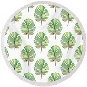 Tropical Leaves On White- Art By Linda Woods Round Beach Towel