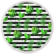 Tropical Leaves Pattern In Watercolor Style With Stripes Round Beach Towel