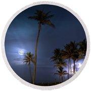 Tropical Moon Round Beach Towel