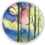 Tropical Moonlight And Bamboo Round Beach Towel