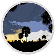 Tropical Palms Work Number Two Round Beach Towel