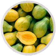Tropical Papayas Round Beach Towel