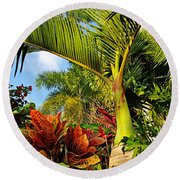 Tropical Plants Round Beach Towel