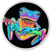 Tropical Rainbow Frog On A Vine Round Beach Towel by Nick Gustafson