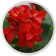 Tropical Red Canna Lilly Round Beach Towel