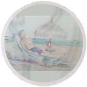Tropical Repose Round Beach Towel