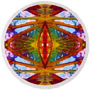 Tropical Stained Glass Round Beach Towel