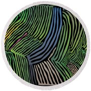 Tropical Striations Round Beach Towel