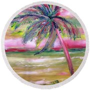Tropical Sunset In Pink With Palm Tree Round Beach Towel