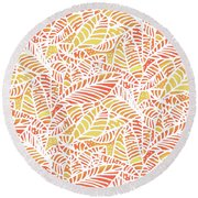 Tropical Sunset Leaves Round Beach Towel