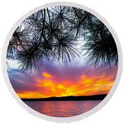Tropical Sunset Vertical Round Beach Towel by Parker Cunningham