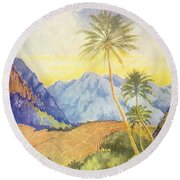Tropical Vintage Hawaii Round Beach Towel