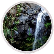 Tropical Waterfall Round Beach Towel