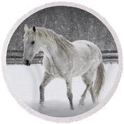 Trot In The Snow Round Beach Towel