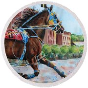 trotter standardbred Horse at the Little Brown Jug Round Beach Towel
