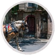 Trotting Into The Past Round Beach Towel