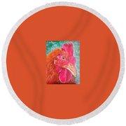 Troubles Portrait Chicken Art Round Beach Towel