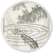 Trout Rising To Dry Fly Round Beach Towel by Charles Harden