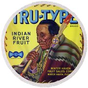 Tru - Type Vintage Fruit Crate Label Round Beach Towel