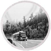 Truck On Foggy Highway Round Beach Towel