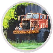 Truck Rusted Round Beach Towel