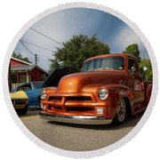 Trucking With Style Round Beach Towel