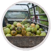 Truckload Of Coconuts Round Beach Towel