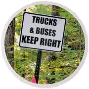 Trucks And Buses Keep Right Round Beach Towel