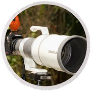 True Bird Photographer Round Beach Towel