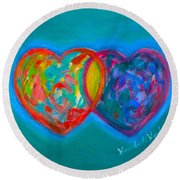 True Blue Hearts Round Beach Towel