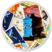 True Blue Postbox Round Beach Towel