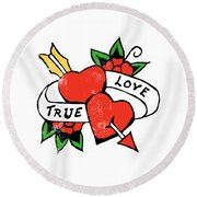 True Love Tattoo Round Beach Towel