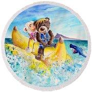 Truffle Mcfurry And Mary The Scottish Sheep Riding The Banana Round Beach Towel