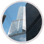 Trump Building From Other Side Round Beach Towel