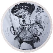 Trump, Short Fingers Pirate With Ryan, The Bird  Round Beach Towel