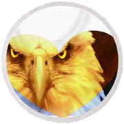 Trumped Gold On White Round Beach Towel