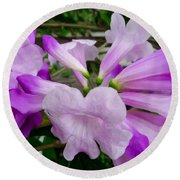 Trumpet Flower 11 Round Beach Towel