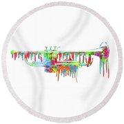 Trumpet Painted Digital Art Round Beach Towel