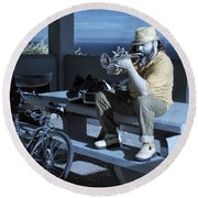 Trumpet Player Playing The Blues Fermin Point Los Angeles In Infrared Round Beach Towel